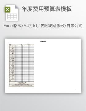 年度费用预算表模板