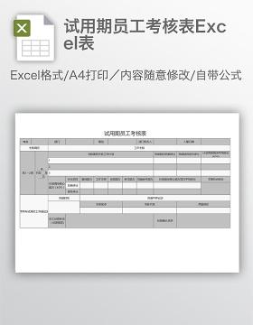 试用期员工考核表Excel表