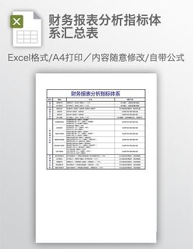 财务报表分析指标体系汇总表