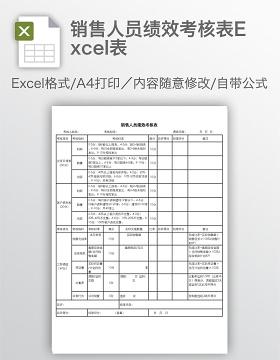 销售人员绩效考核表Excel表