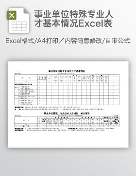 事业单位特殊专业人才基本情况Excel表