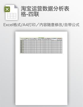 淘宝运营数据分析表格-四联