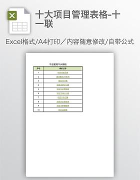 十大项目管理表格-十一联