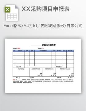 XX采购项目申报表