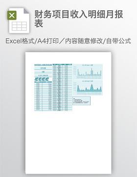 财务项目收入明细月报表