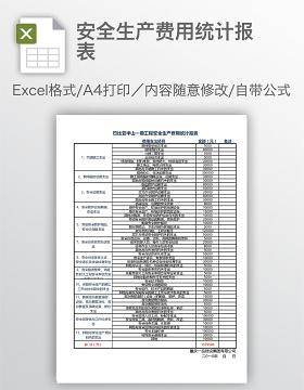 安全生产费用统计报表