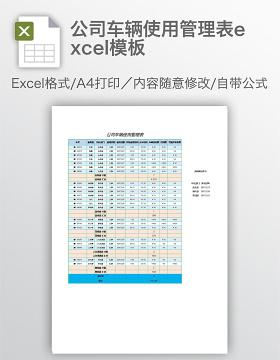 公司车辆使用管理表excel模板