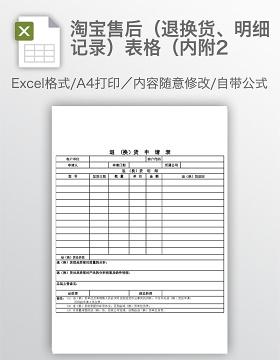 淘宝售后(退换货、明细记录)表格(内附2