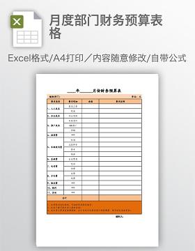 月度部门财务预算表格