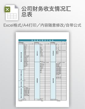 公司财务收支情况汇总表