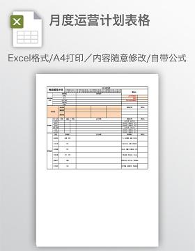 月度运营计划表格