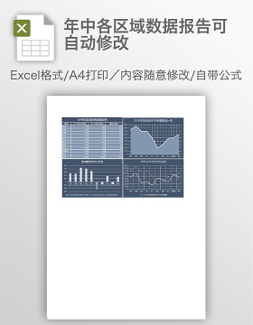 年中各区域数据报告可自动修改