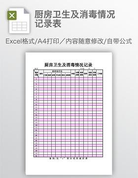 厨房卫生及消毒情况记录表