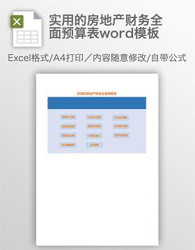 实用的房地产财务全面预算表word模板