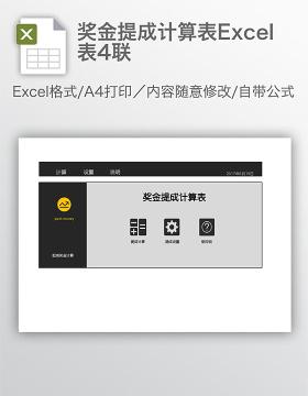 奖金提成计算表Excel表4联