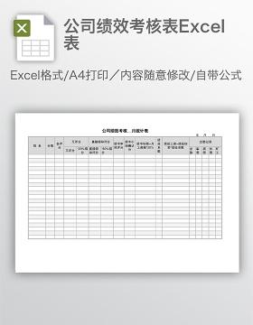 公司绩效考核表Excel表