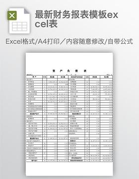 最新财务报表模板excel表