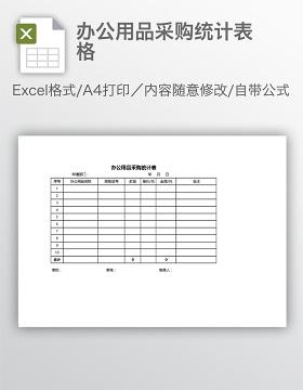办公用品采购统计表格