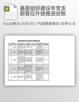 基层组织建设年党支部晋位升级推进台账