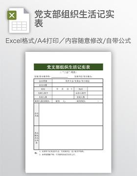 党支部组织生活记实表
