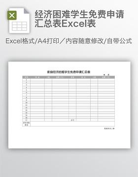 经济困难学生免费申请汇总表Excel表