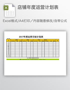 店铺年度运营计划表