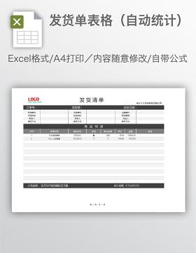 发货单表格(自动统计)