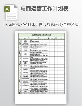 电商运营工作计划表