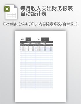 每月收入支出财务报表自动统计表