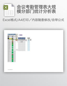 会议考勤管理表大规模分部门统计分析表