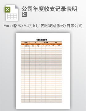 公司年度收支记录表明细