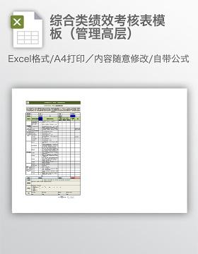 综合类绩效考核表模板(管理高层)