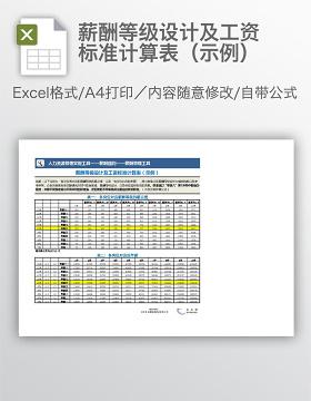 薪酬等级设计及工资标准计算表(示例)