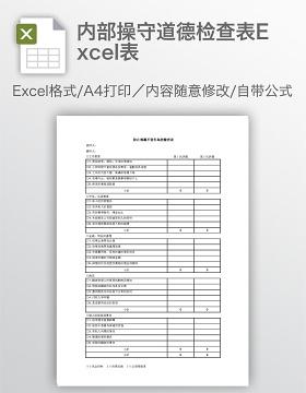 内部操守道德检查表Excel表