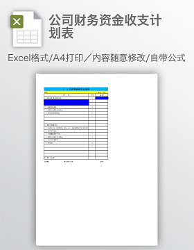 公司财务资金收支计划表