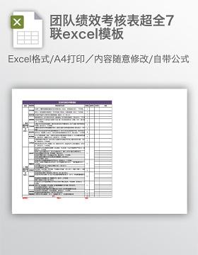 团队绩效考核表超全7联excel模板