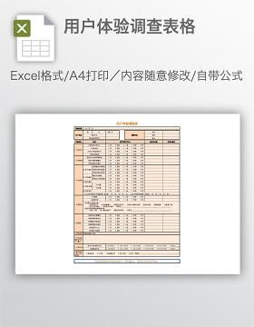 用户体验调查表格