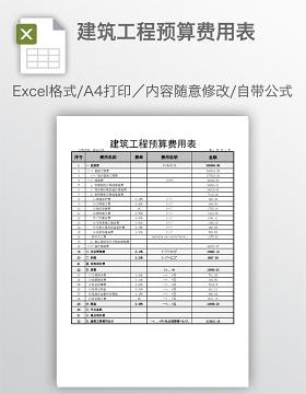 建筑工程预算费用表