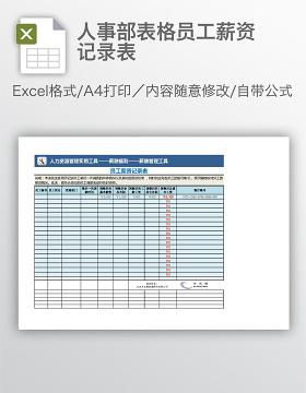 人事部表格员工薪资记录表