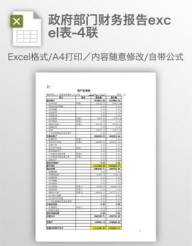 政府部门财务报告excel表-4联