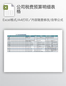 公司税费预算明细表格