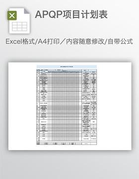 APQP项目计划表