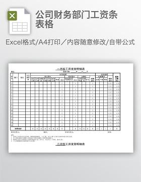 公司财务部门工资条表格