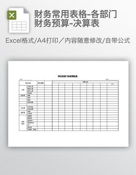 财务常用表格-各部门财务预算-决算表