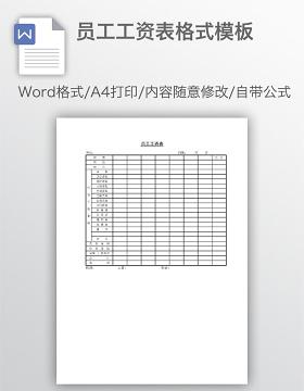 员工工资表格式模板